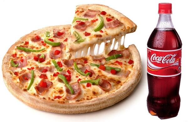Pizza grande con 3 ingredientes + refresco de 1 litro